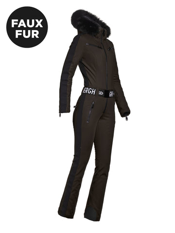 GOLDBERGH Empress Jumpsuit Faux Fur Black