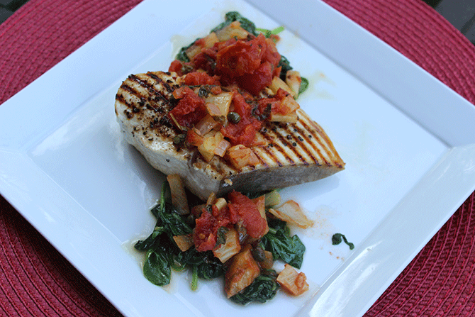 Grilled Swordfish with Tomato Fennel Salsa and Sautéed Spinach