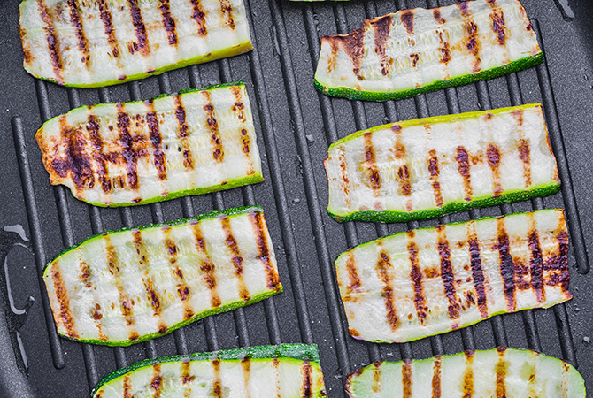 Grilled Zucchini with Kalamata Vinaigrette