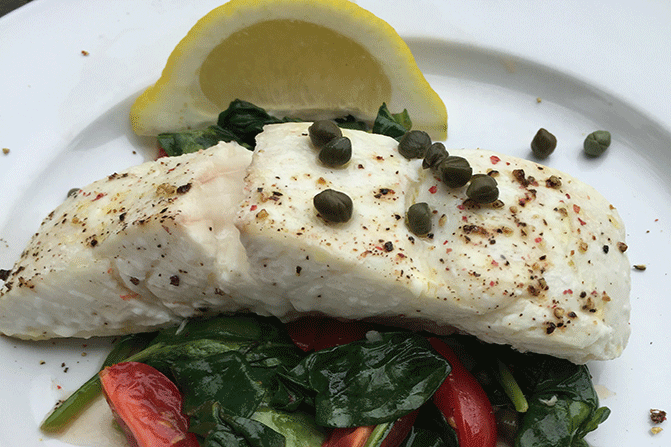 Halibut with Spinach and Tomatoes