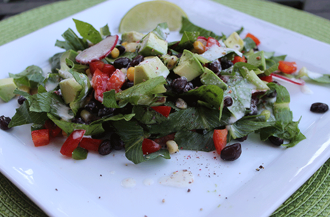 Mexican Chopped Salad with Spicy Lime Ranch Dressing