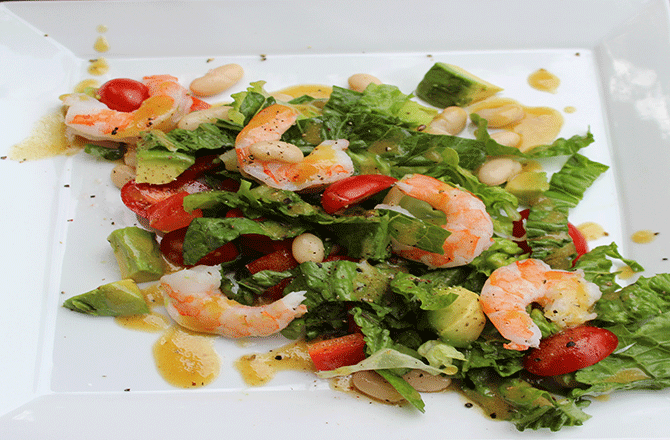 Shrimp and White Bean Salad with Red Wine Cumin Vinaigrette