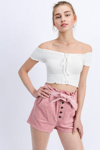 Treviso Off The Shoulder Crop Top - White