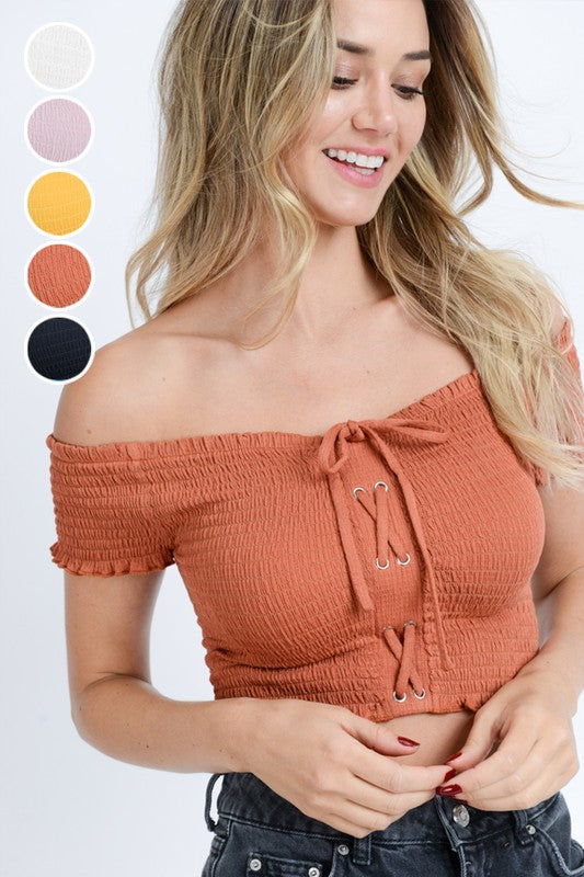Treviso Off The Shoulder Crop Top - Rust