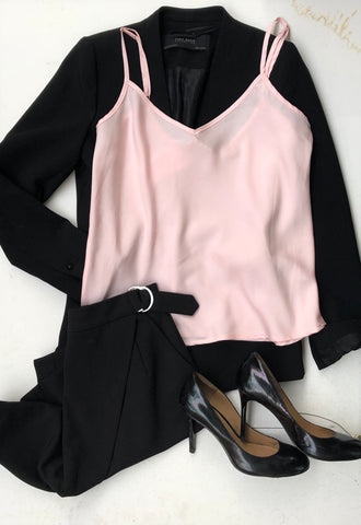 Bare Slumber Pajama Camisole paired with a black blazer, black skirt and black heels - perfect pajama look for work.