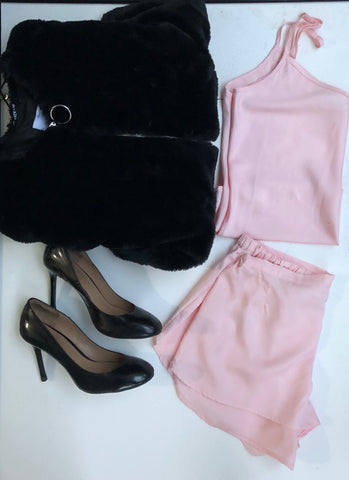 Bare Slumber Pajama set - Camisole and Shorts - Paired with Furry Jacket and Black heels