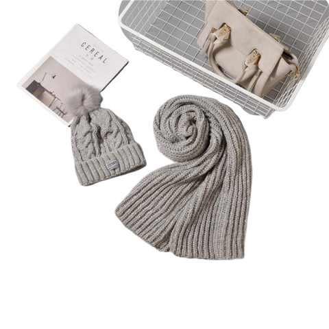 Cashmere Wool Hat & Scarf Set For Women Winter Fashion