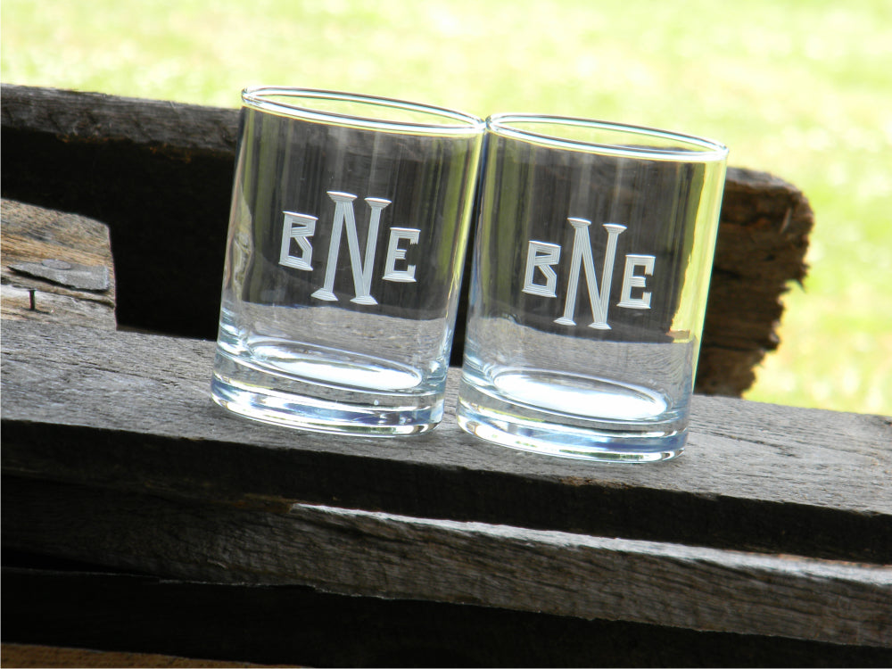 Hand Cut Rocks Glass with Classic Block Monogram