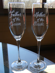 Custom Hand Engraved Mother of the Bride or Mother of the Groom Champagne Glass