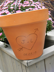 Personalized Terra Cotta Flower Pot with Carved Initials Inside Heart and Date