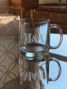 Set of 4 | 13 oz Coffee Mug Personalized with Monogram