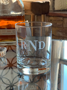 Double Old Fashioned Rocks Glass with Etched Monogram, 14 oz