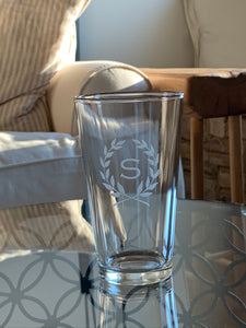 Pint Glass with Monogram, 16 oz