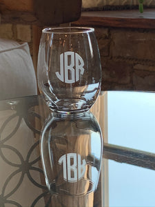 Stemless Wine Glass with Etched Monogram, 21 oz