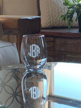 Load image into Gallery viewer, Stemless Wine Glass with Etched Monogram, 15 oz