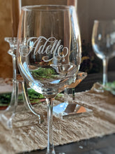 Load image into Gallery viewer, Personalized Etched Wine Glass with Designer Script Name | Glass or Crystal | 16 oz or 19 oz |