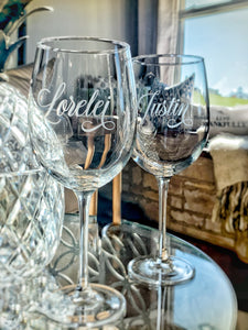 Personalized Etched Wine Glass with Designer Script Name | Glass or Crystal | 16 oz or 19 oz |