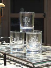 Load image into Gallery viewer, Hand Cut Rocks Glass with Classic Block Monogram