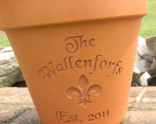 Load image into Gallery viewer, Custom Engraved Fleur De Lis Terra Cotta Flower Pot