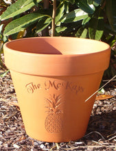 Load image into Gallery viewer, Custom Engraved Pineapple Terra Cotta Flower Pot