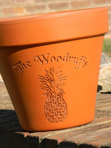 Custom Engraved Pineapple Terra Cotta Flower Pot