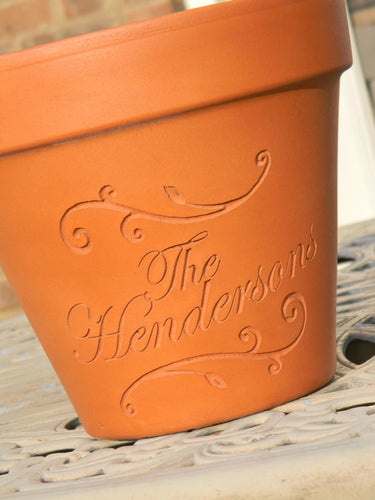 Custom Engraved Scrolls Terra Cotta Flower Pot
