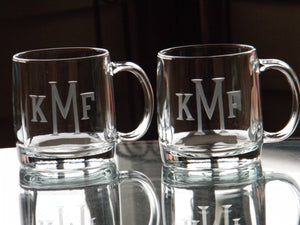 Hand Cut Classic Block Monogram 13 oz Glass Coffee Mug
