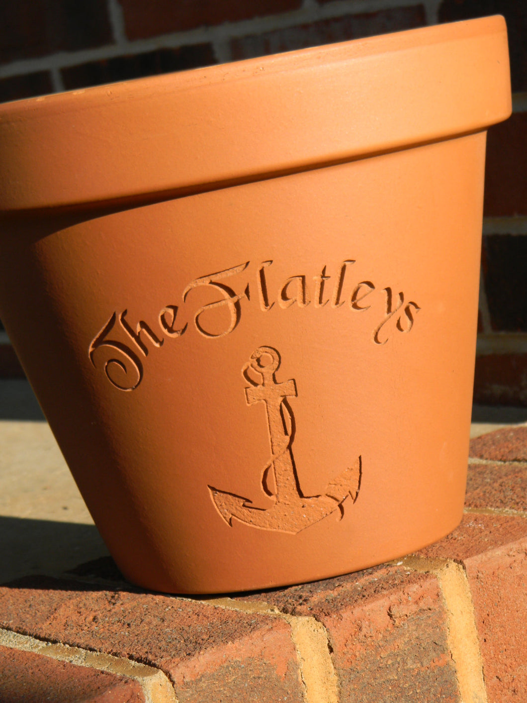 Custom Engraved Anchor Terra Cotta Flower Pot