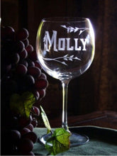 Load image into Gallery viewer, Set of 2  Hand Cut Crystal Wine Goblets Personalized with Name