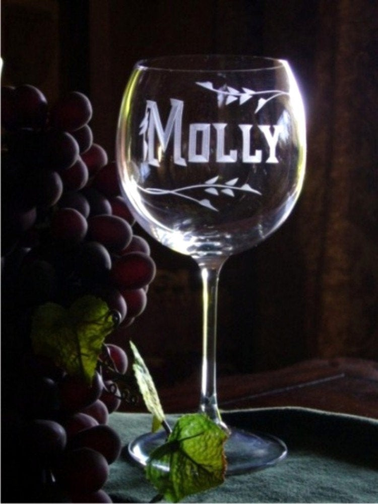 Set of 2  Hand Cut Crystal Wine Goblets Personalized with Name