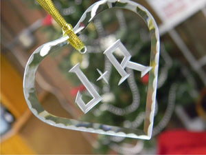 Heart Shaped Glass Ornament with Hand Cut Initials