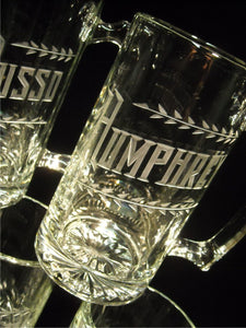 15 oz or 25 oz Beer Mug with Hand Cut Name and Leaves