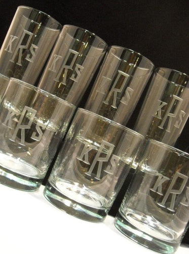 Hand Cut Rocks and Hiball Beverage Set Engraved with Classic Block Monogram