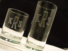 Load image into Gallery viewer, Hand Cut Rocks and Hiball Beverage Set Engraved with Classic Block Monogram