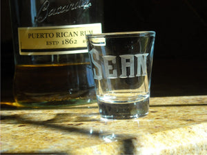 Hand Cut Shot Glass with Custom Name
