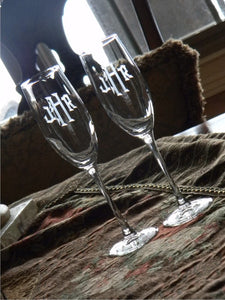 Old English Hand Cut Monogrammed Connoisseur Champagne Flutes