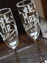 Load image into Gallery viewer, Hand Cut Mr. & Mrs. Personalized Lovebird Champagne Flute | Set of 2