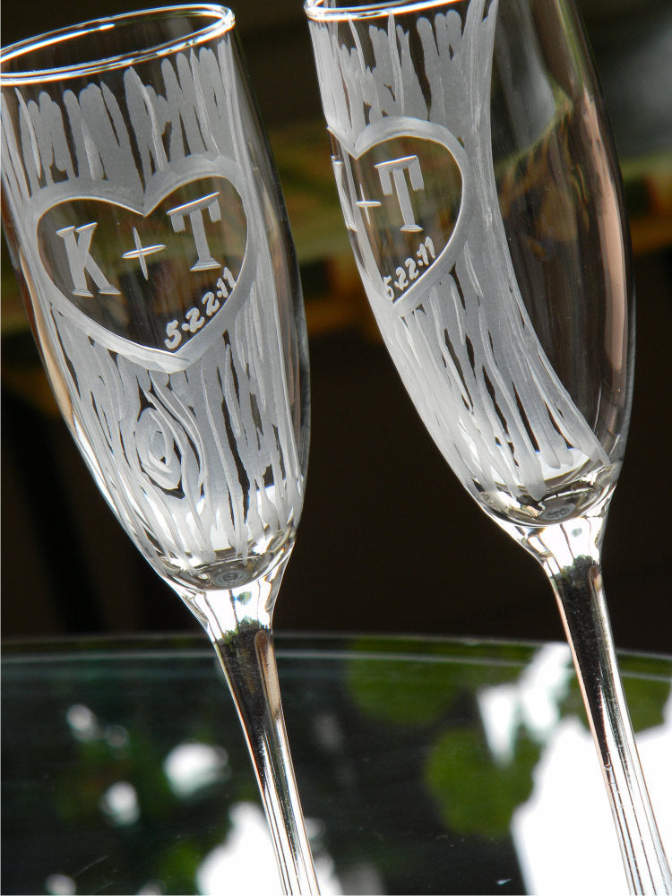 Personalized Hand Cut Carved Tree Champagne Glasses