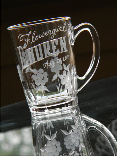 Personalized Hand Cut Flowergirl Keepsake Mug
