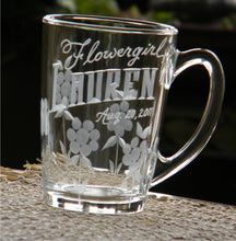 Load image into Gallery viewer, Personalized Hand Cut Flowergirl Keepsake Mug