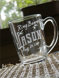 Personalized Hand Cut Ring Bearer Keepsake Mug