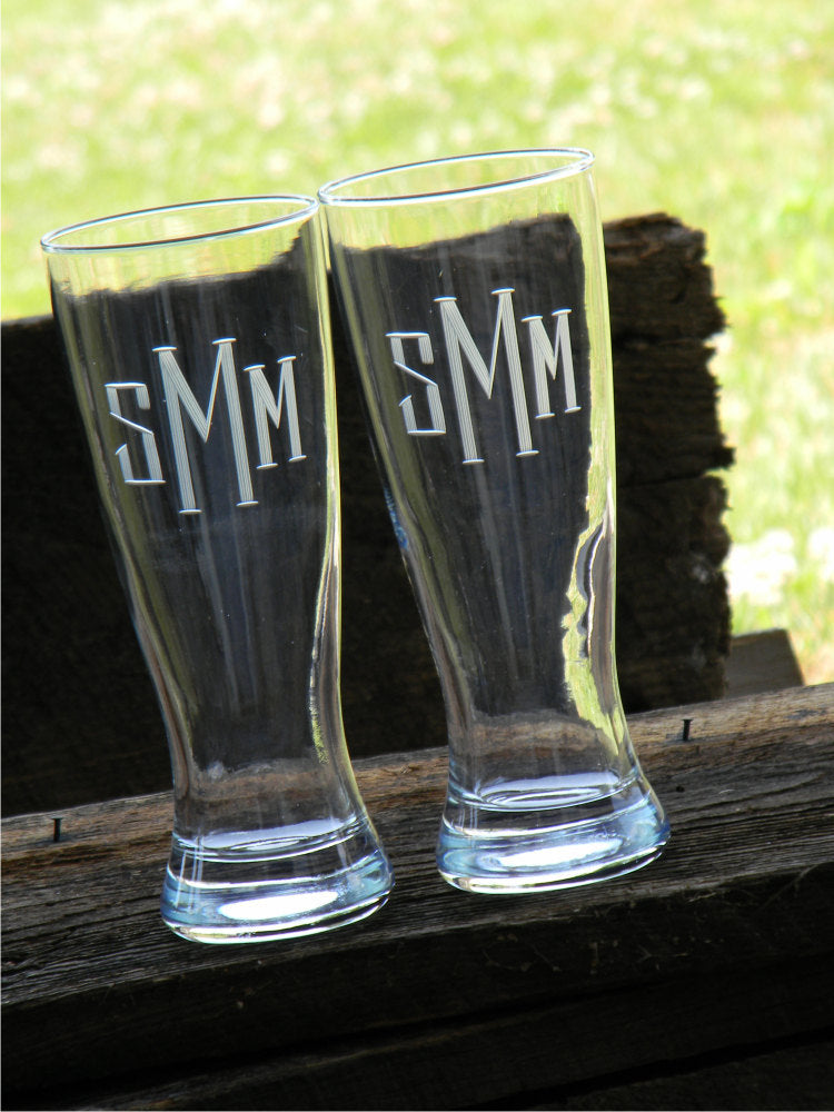Hand Cut Pilsner Beer Glass with Thick and Thin Block Monogram