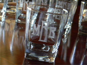 Hand Cut Classic Block Monogrammed Square Whiskey Glass