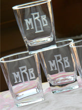 Load image into Gallery viewer, Hand Cut Classic Block Monogrammed Square Whiskey Glass
