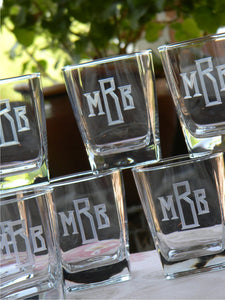 Set of 4 | Hand Cut Classic Block Monogrammed Square Whiskey Glass