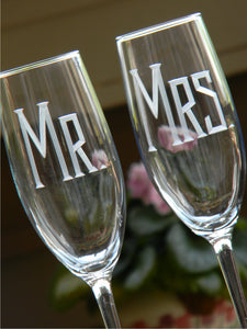 Hand Cut Mr. & Mrs. Champagne Toasting Flute | Set of 2