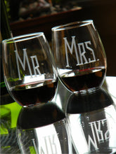 Load image into Gallery viewer, Hand Cut MR & MRS Stemless Wine Glass | Set of 2