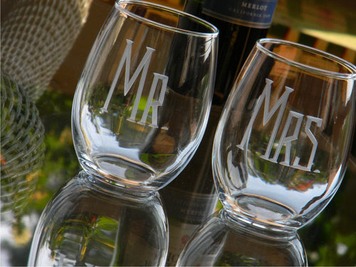 Hand Cut MR & MRS Stemless Wine Glass | Set of 2