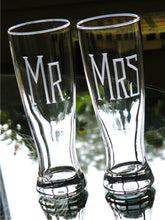Load image into Gallery viewer, Hand Cut Mr. & Mrs. Pilsner Beer Glass | Set of 2