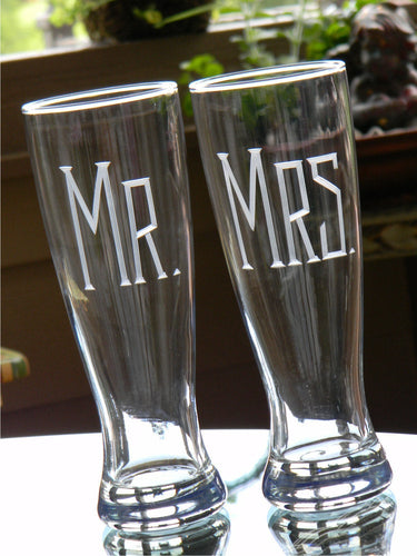 Hand Cut Mr. & Mrs. Pilsner Beer Glass | Set of 2